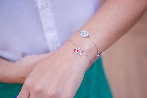 H1498 - Pulseira Coração Vermelho e Ponto de Luz Pendurados