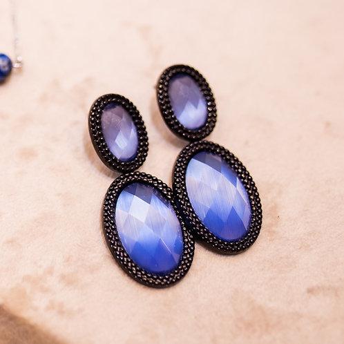 H1787 - Brinco 2 Bolas Cristal Azul Perolado