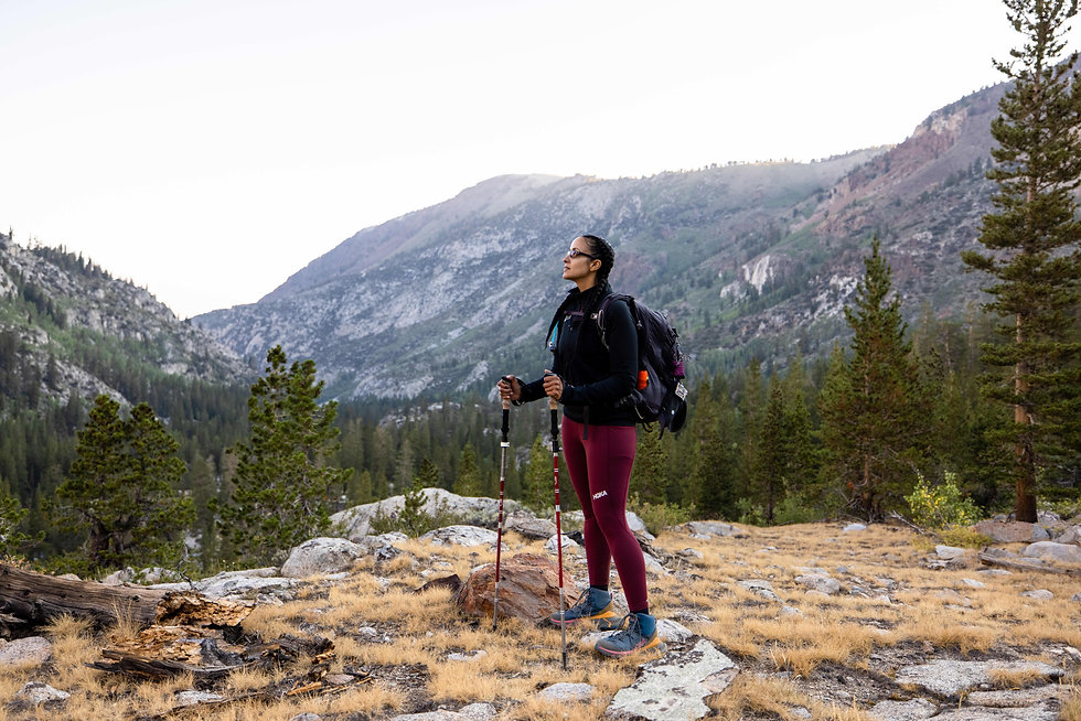 Nicole Snell hiking Hoka mammoth mountains