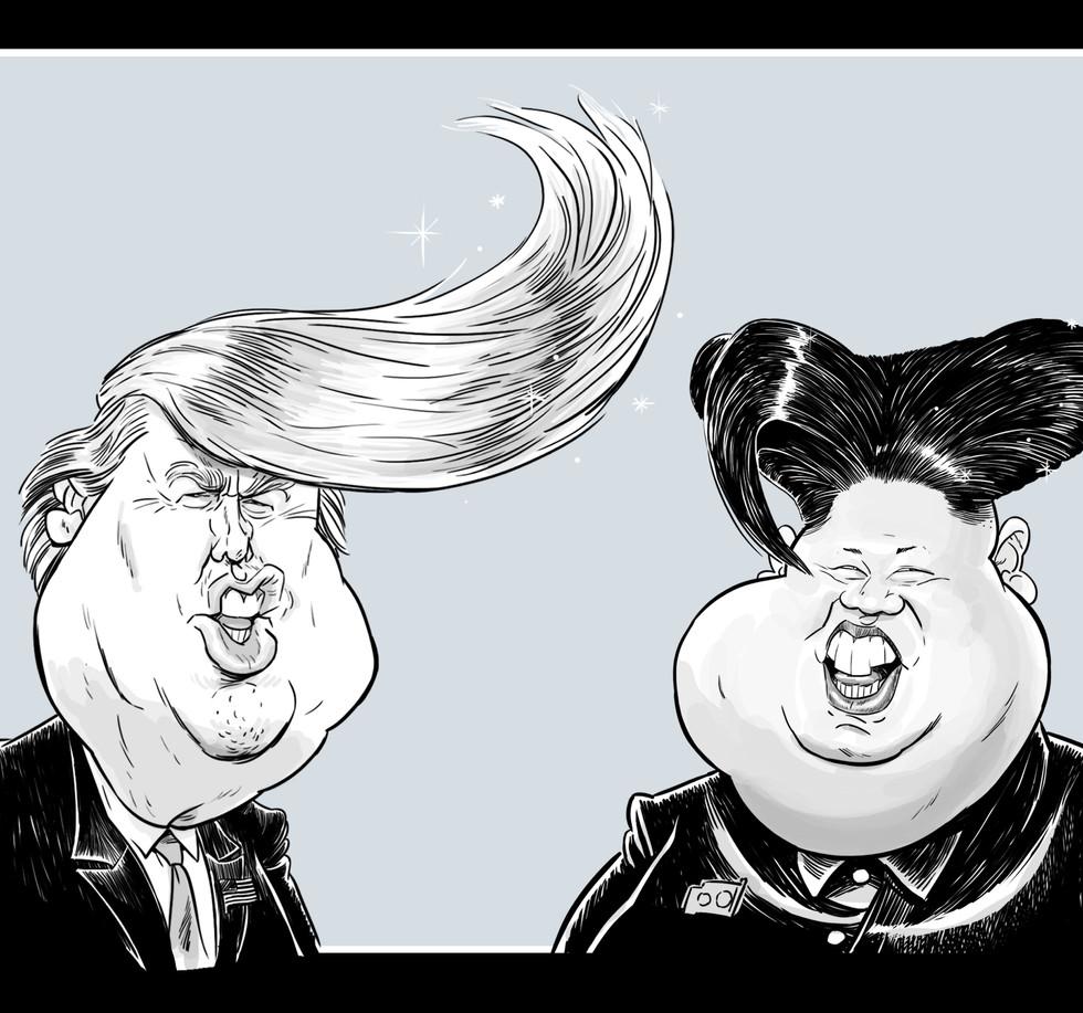 Trump & Kim caricature