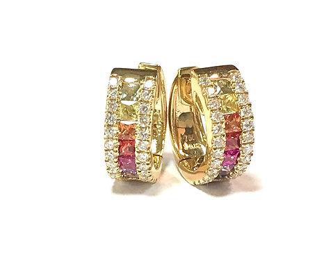Galio 18ct Yellow Gold Rainbow Sapphire & Diamond Hoops