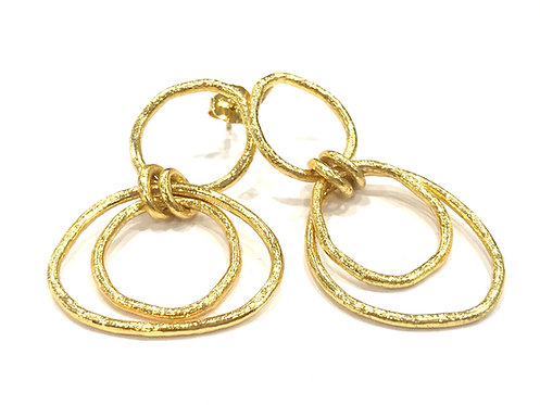Enigma Sterling Silver Gold Plated Double Drop Earrings