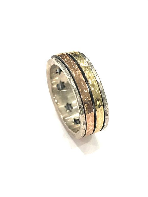 Yaron Morhaim Spinner Star Detail Multi Colour Ring