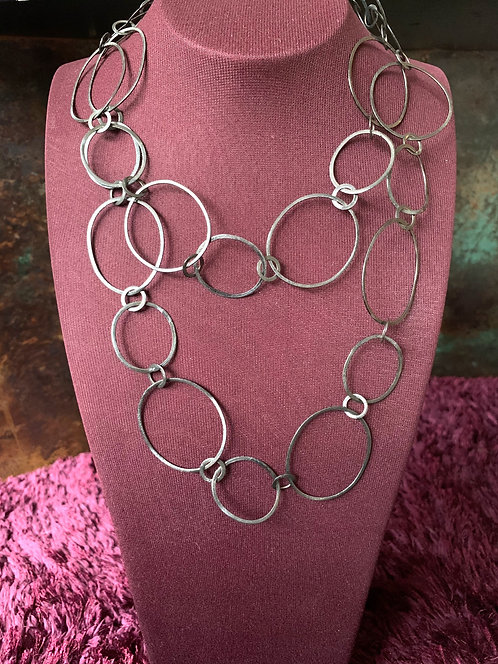 Black Rhodium Large Circle Necklace