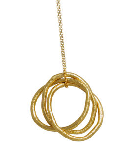 Silver Gold Plated Triple Circle Necklace