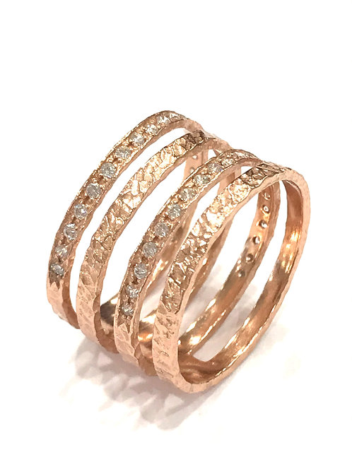 Enigma Sterling Silver Rose Gold Plated 4 Bar Ring