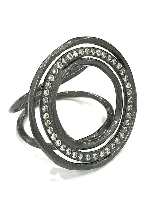 Enigma Sterling Silver Black Rhodium Organic Circle Ring