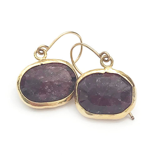 Ruby Gold Vermeil Drop Earrings