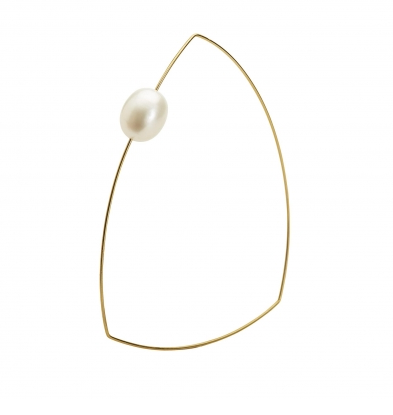 Flat Triangle Bangle with Pearl