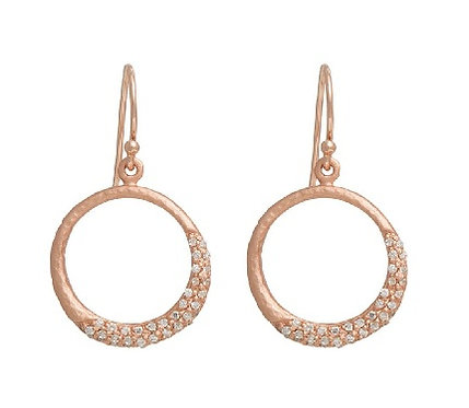 Enigma Sterling Silver Rose Gold Plated Circle Earrings
