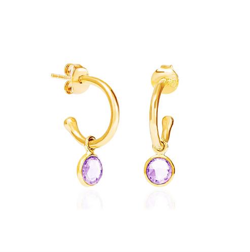 Amethyst February Birthstone Hoop Earrings