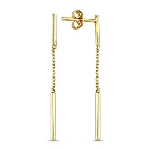 My Jools 14ct Short Double Stick Drop Chain Earrings