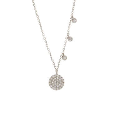 14ct White Gold Offset Diamond Necklace