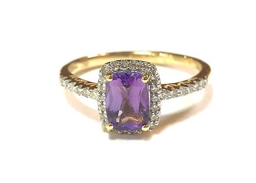 Galio 18ct Yellow Gold Diamond & Purple Amethyst Ring