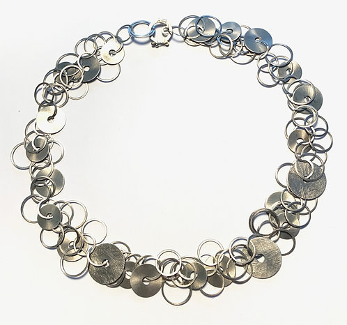 Silver Short Multi Disc Necklace