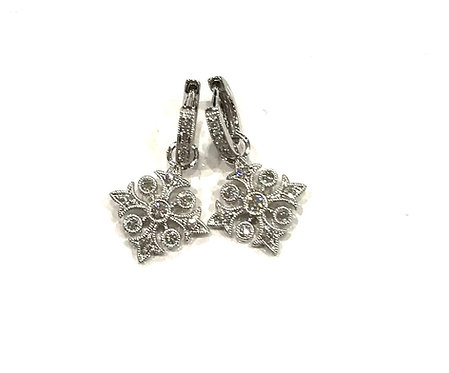 Galio 18ct White Gold Drop Earrings