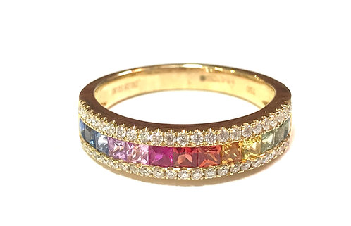Galio 18ct Yellow Gold Rainbow Sapphire & Diamond Ring