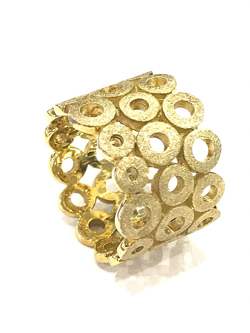 Galio Sterling Silver Gold Plated Bubble Ring