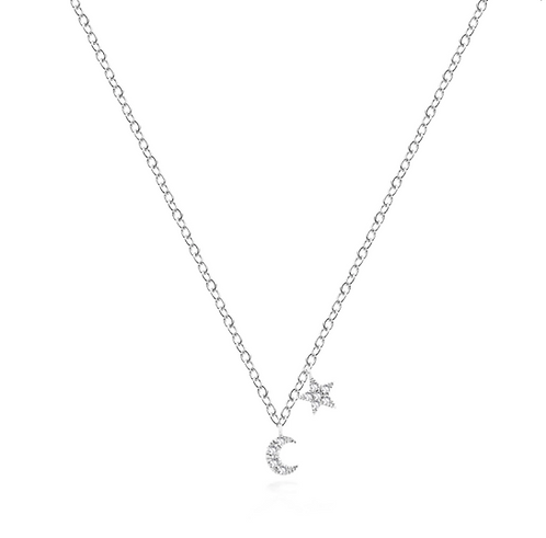 Meira T 14ct Mini Moon and Star Necklace