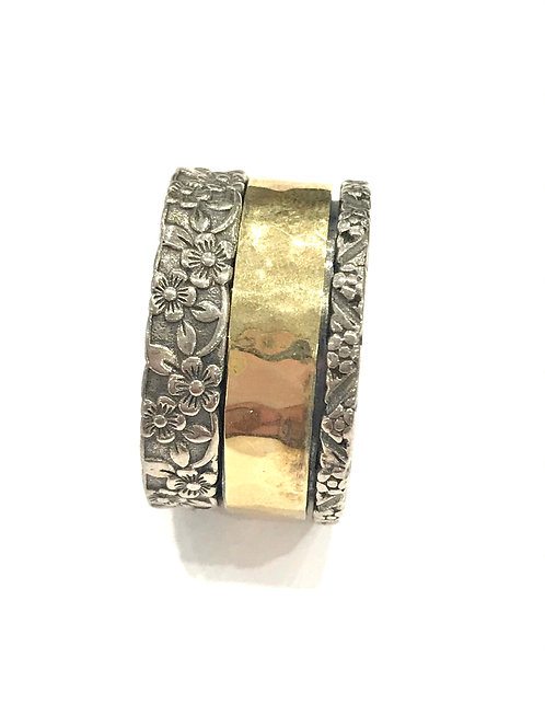 Yaron Morhaim Spinner Rolled Gold & Floral Ring