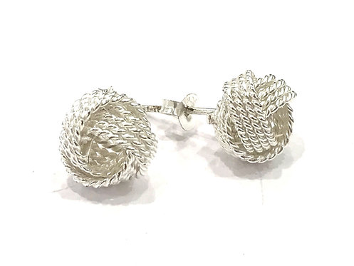 Enigma Sterling Silver Knot Studs