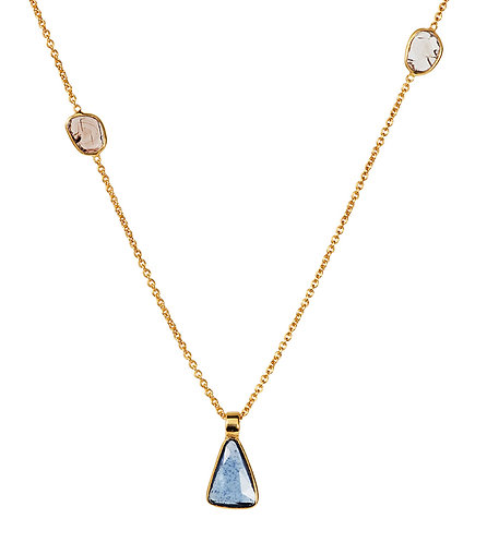 Diamond & Blue Sapphire Slice Necklace