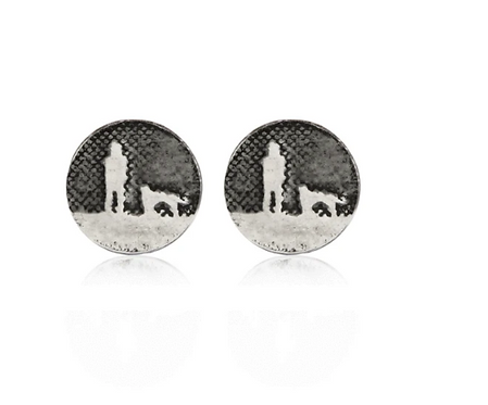 Round Night's Sky Dog Stud Earrings
