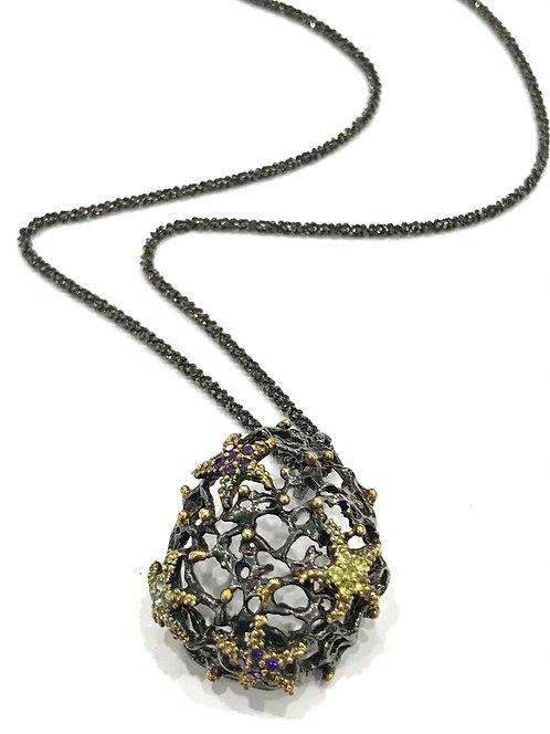 Enigma Sterling Silver & Black Rhodium Starfish Necklace