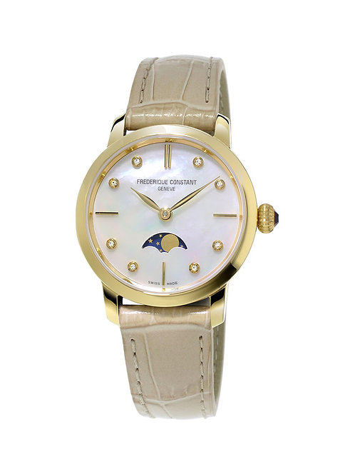 Frederique Constant Slimline Ladies Gold Plated Moonphase FC-206MPWD1S5