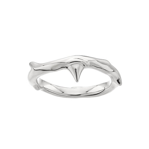 Silver Rose Thorn Band Ring