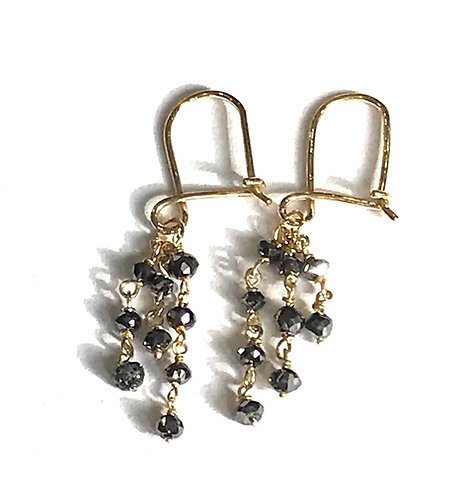 Galio 18ct Yellow Gold Black Diamond Drops