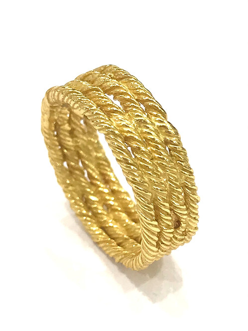 Enigma Sterling Silver Gold Plated Rope Ring