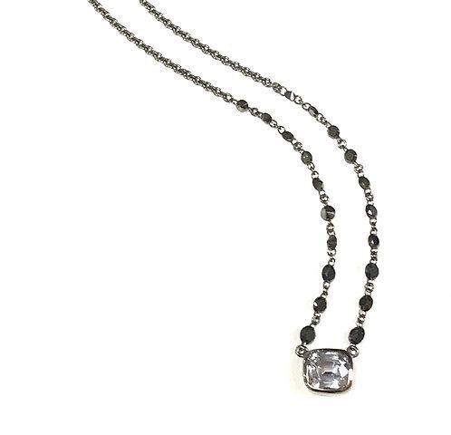 Galio 18ct White Gold Black Diamond& Grey Spinel Necklace