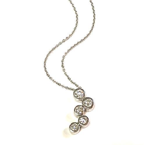 Galio 18ct White Gold Diamond Bubble Necklace