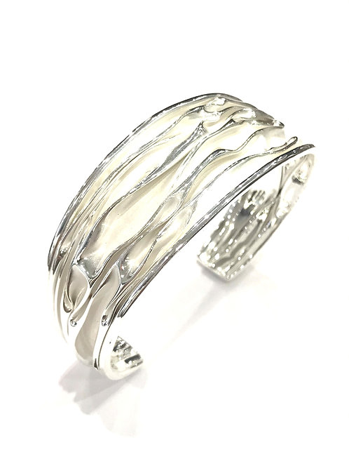 Enigma Sterling Silver Medium Wave Bangle