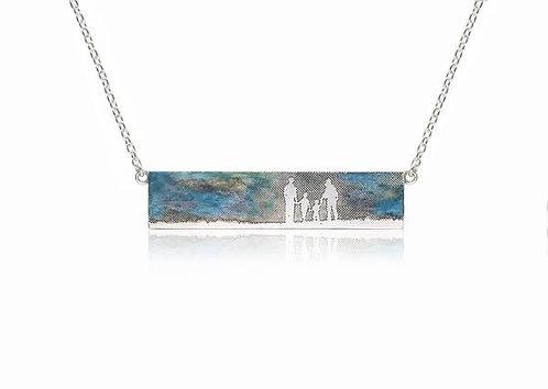 Family Landscape Necklace with Blue Sky