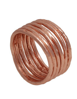 Silver Rose Gold Plated Wide Ring