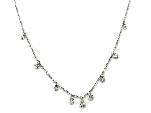 Galio 18ct White Gold Diamond Drop Necklace