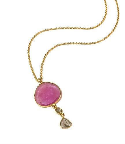 REI Diamond & Pink Sapphire Slice Necklace