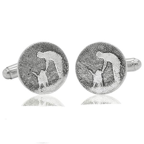 Round Mans Best Friend Forever Silver Dog Cufflinks
