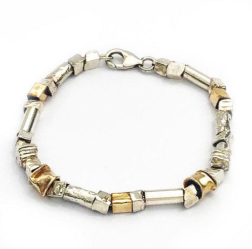 Silver & Rolled Gold Multi-Shape Bracelet