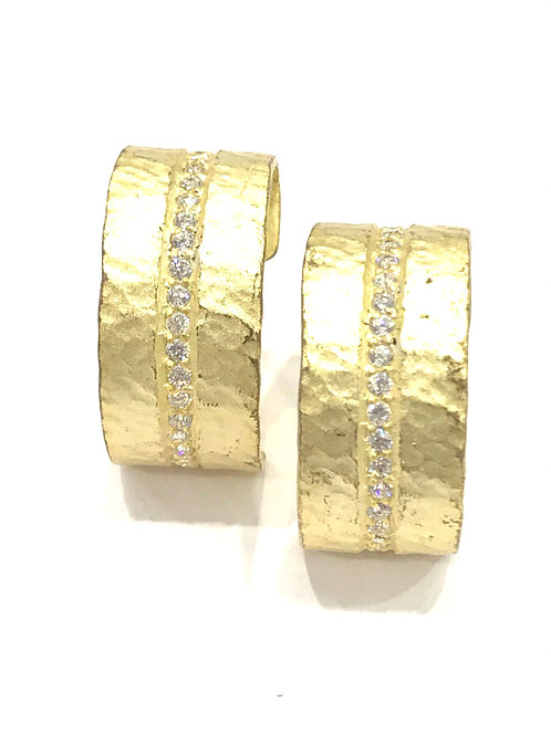 Enigma Sterling Silver Gold Plated Sparkle Wide Hoops