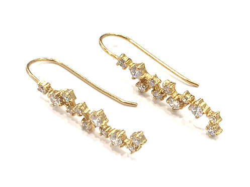 Enigma Sterling Silver Gold Plated Organic Drop Earrings