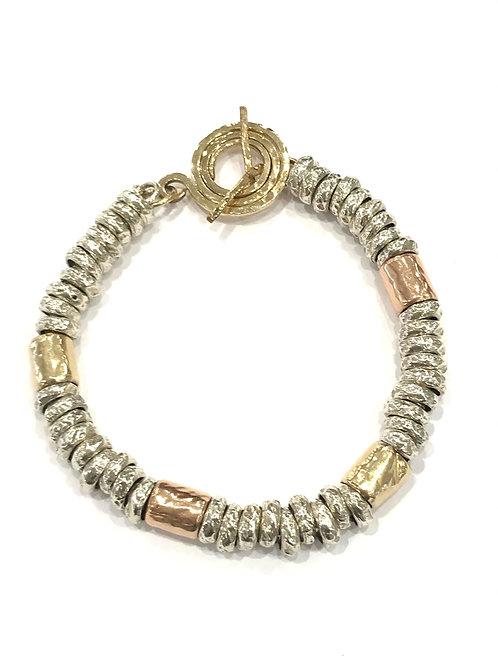 Yaron Morhaim Chunky Rolled Gold & Rose Gold Bracelet