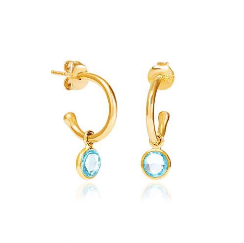Blue Topaz March Birthstone Hoop Earrings