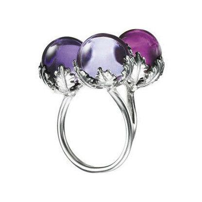 Baccarat Silver Murmure Three Crystal Ring