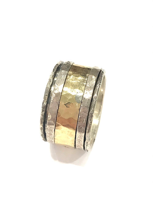 Yaron Morhaim Spinner Rolled Gold & Silver Wide Ring