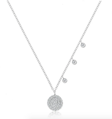 Meira T 14ct White Gold Offset Diamond Necklace