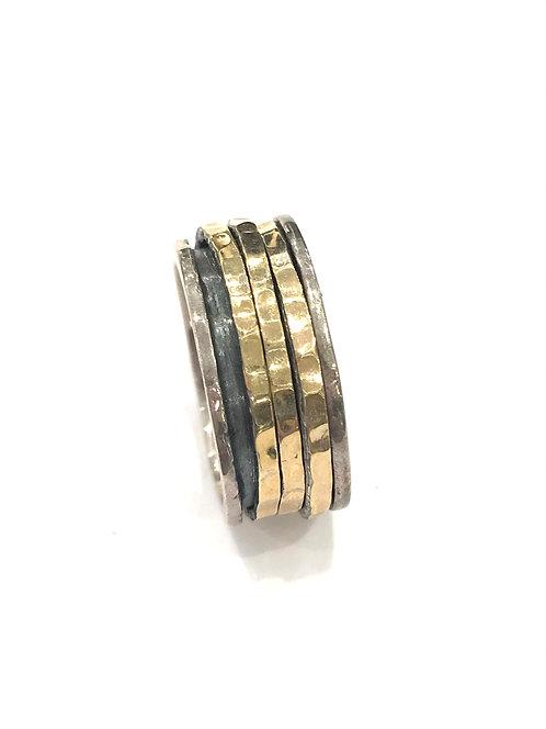 Yaron Morhaim Three Ring Spinner Rolled Gold Ring
