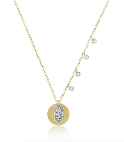 Meira T 14ct Hamsa Coin Diamond Necklace